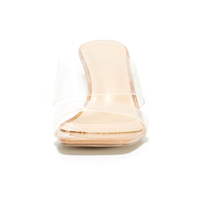 Nude Clear Heel Double Strap Mules PVC Transparent Slip On Heeled Sandals
