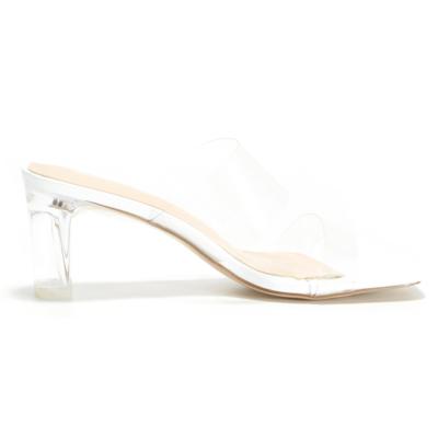 Clear Heel Mules PVC Transparent Slip On Heeled Sandals