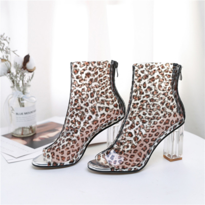 Clear Leopard Print Ankle Boots Peep Toe Zip Sandals with Transparent Block Heels