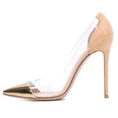 Golden Toe PU Clear Pvc Pumps Stilettos Women's Court High Heels 10cm