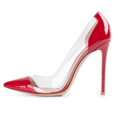 Red Patent Leather Clear Pvc Pointed Toe Pumps Stilettos Women's Court High Heels
