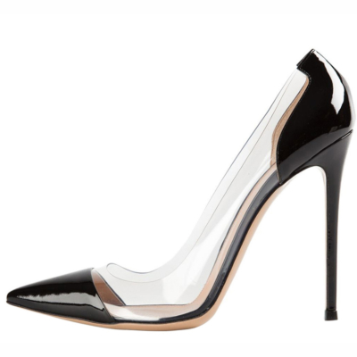 Black Patent Leather Clear Pvc Pointed Toe Pumps Stilettos Women's Court High Heels