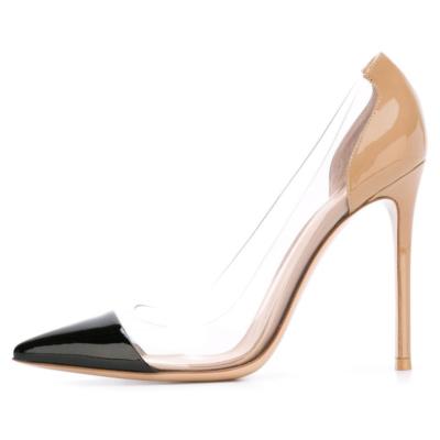 Black Pointed Toe PU Clear Pvc Pumps Stilettos Women's Court High Heels 10cm