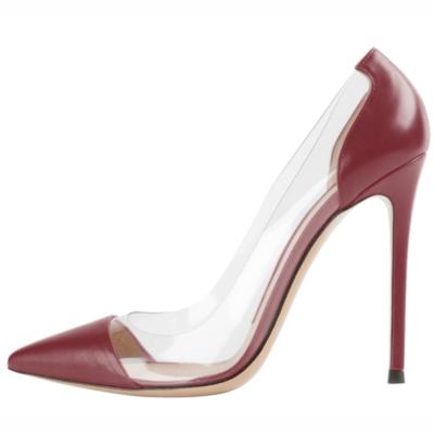Burgundy Matte Clear Pvc Pointed Toe Pumps Stilettos Women's Court High Heels 10cm