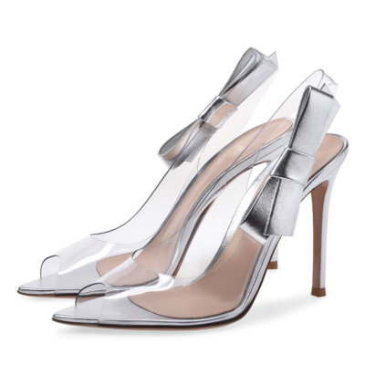Clear PVC Sandals Stiletto Heel Dresses Slingback Shoes with Bow