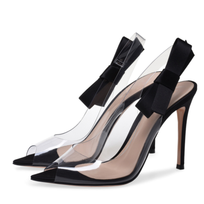 Black Clear PVC Sandals Stiletto Heel Dresses Slingback Shoes with Bow