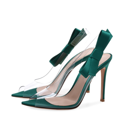 Green Clear PVC Sandals Stiletto Heel Dresses Slingback Shoes with Bow