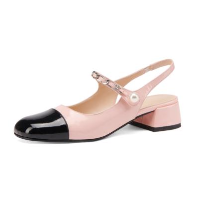 Pink&Black Almond Toe Mary Janes Chunky Heel Pearl Slingback Pumps