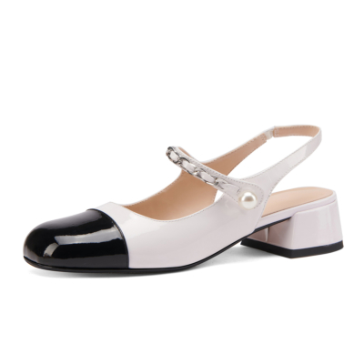 Color Block Almond Toe Mary Janes Chunky Heel Pearl Slingback Pumps