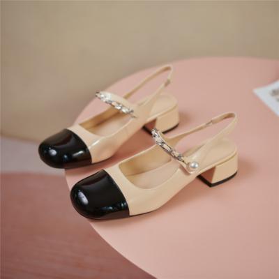 Nude&Black Almond Toe Mary Janes Chunky Heel Pearl Slingback Pumps