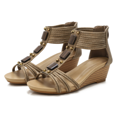 Brown Comfort T-Strap Low Wedge Gladiator Sandals for Women