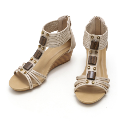 Comfort T-Strap Low Wedge Gladiator Sandals for Women