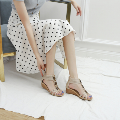 Apricot Comfort T-Strap Low Wedge Gladiator Sandals for Women