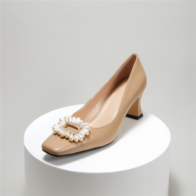Comfortable Mid Heel Wedding Shoes Crystal Pearl Buckle Pumps in Nude