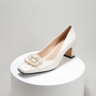 Comfortable Mid Heel Wedding Shoes Crystal Pearl Buckle Pumps