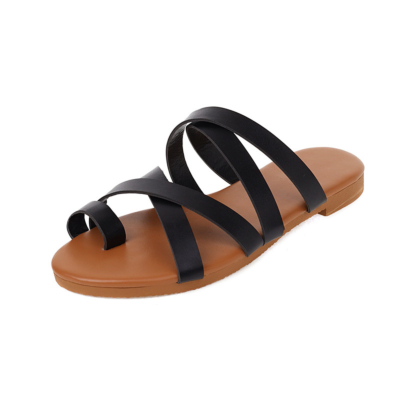 Comfortable Toe Ring Strappy Slide Sandals Cross Wrap Sandals Flat