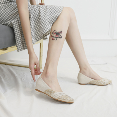 Beige Comforty Pointed Toe Rhinestone Flats for Women