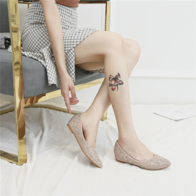 Pink Comfortable Pointed Toe Rhinestone Flats for Women