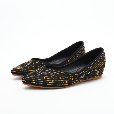 Black Comfortable Pointed Toe Rhinestone Flats for Women