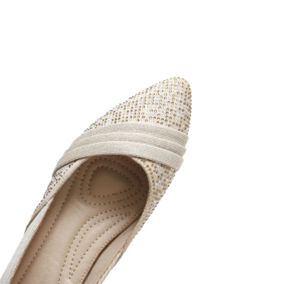 Comforty Pointed Toe Rhinestone Flats for Women