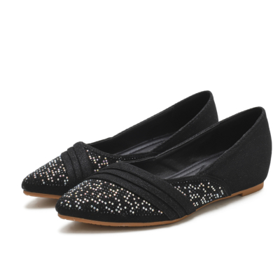 Black Comforty Pointed Toe Rhinestone Flats for Women