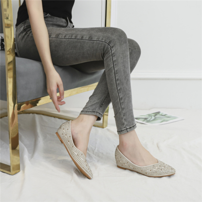 Beige Comfortable Pointed Toe Rhinestone Flats for Women