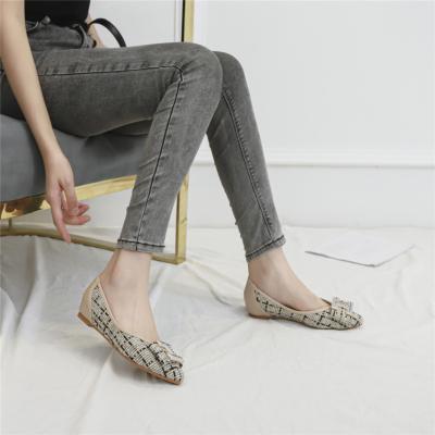 Beige Comforty Round Toe Buckle Woven Tweed Flats Women Shoes