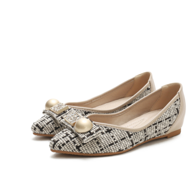 Beige Comforty Round Toe Pearl Embelishment Woven Tweed Flats Women Shoes