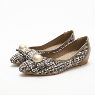 Brown Comforty Round Toe Pearl Embelishment Woven Tweed Flats Women Shoes-