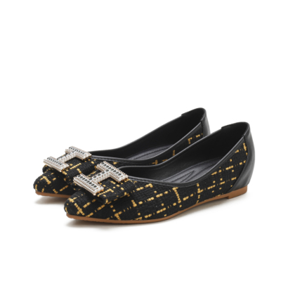 Comforty Round Toe Woven Tweed Flats Women Shoes