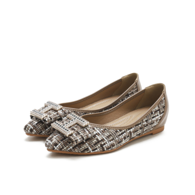 Brown Comforty Round Toe Buckle Woven Tweed Flats Women Shoes