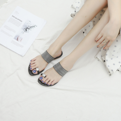 Black Comfy Beach Crystals Toe-Ring Flats Slide Sandals