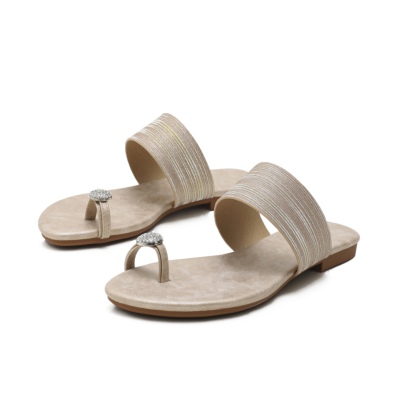 Golden Comfy Beach Crystals Toe-Ring Flats Slide Sandals
