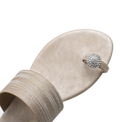 Comfy Beach Crystals Toe-Ring Flats Slide Sandals