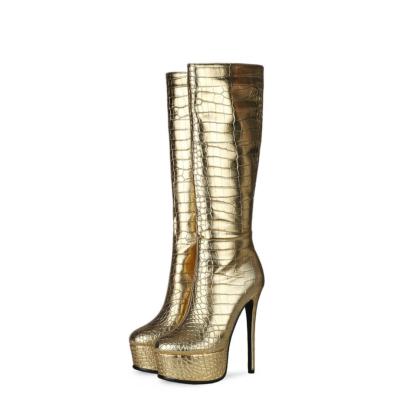 Golden Croc Embossed Metallic Platform Boot Stiletto Knee High Boots