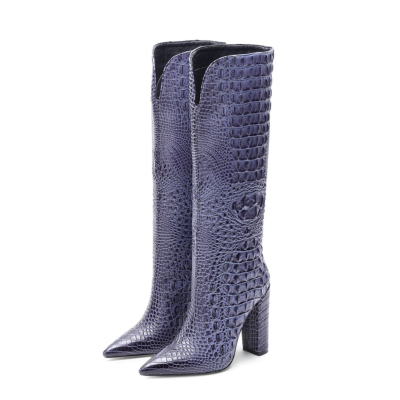 Blue Croc Embossed Pointed Toe Chunky Heel Knee High Boots