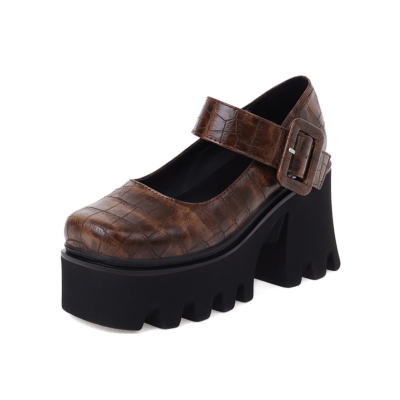 Croc Print Chunky Mary Jane Shoes Square Toe Platform Buckle Heels in Bown