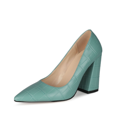 Green Croc Printed Pointed Toe Pumps 4 inch Block Heel Womens Shoes