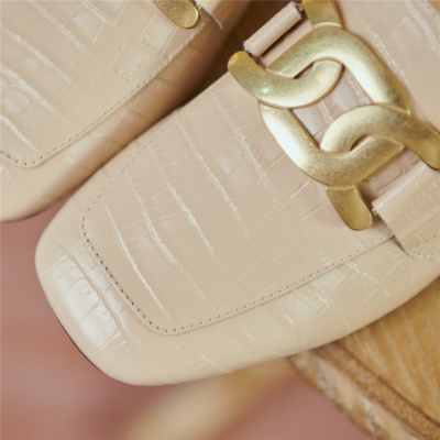 Nude Crocodile Embossed Loafers Mules Leather Slides with Metal Buckle