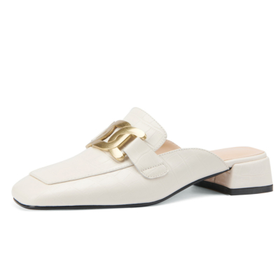White Crocodile Embossed Loafers Mules Leather Slides with Metal Buckle
