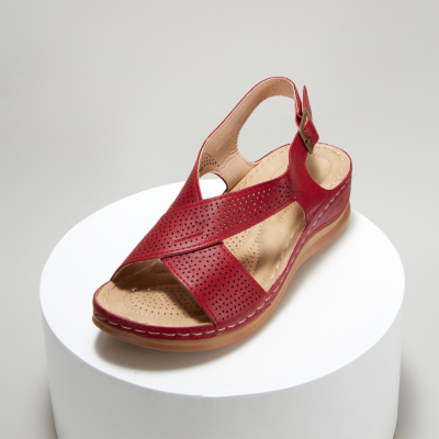 Red Crossover Hollow Out Wide Strap Low Heel Wedge Sandals