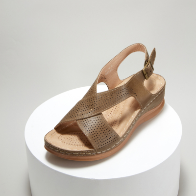 Brown Crossover Hollow Out Wide Strap Low Heel Wedge Sandals