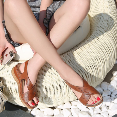Tan Crossover Hollow Out Wide Strap Low Heel Wedge Sandals