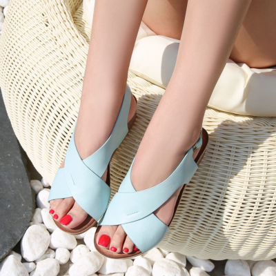 Blue Crossover Wide Strap Buckle Soft Wedge Sandals