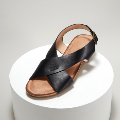 Black Crossover Wide Strap Buckle Soft Wedge Sandals