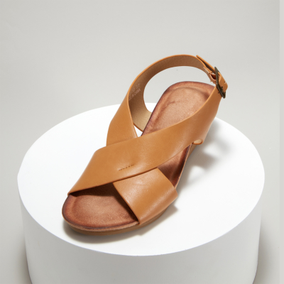 Brown Crossover Wide Strap Buckle Soft Wedge Sandals