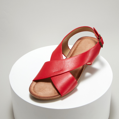 Red Crossover Wide Strap Buckle Soft Wedge Sandals