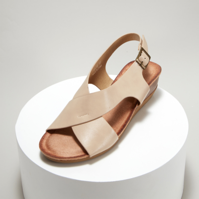 Crossover Wide Strap Buckle Soft Wedge Sandals