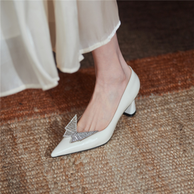 White Crystal Butterfly Buckle Patent Leather Pointy Toe Pumps Block Heels Bridal Shoes