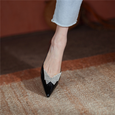 Black Crystal Butterfly Buckle Patent Leather Pointy Toe Pumps Block Heels Bridal Shoes